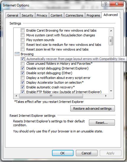 Internet Options Advanced IE9