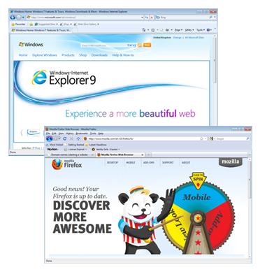 Browser upgrade screenshots