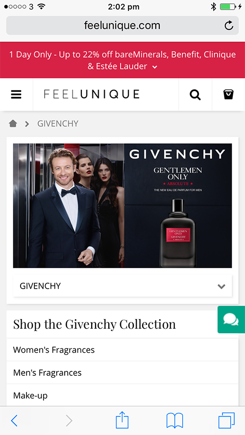 Givenchy banner on FeelUnique