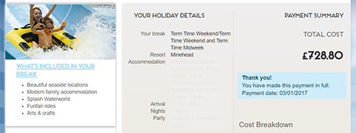 Butlin's booking confirmation
